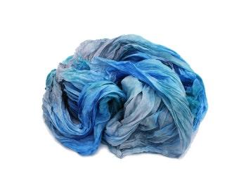 blue silk scarf - Alps  -  sky blue, aqua blue, grey silk scarf.