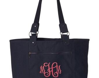 Navy Canvas Monogrammed Tote Bag