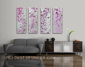 Colorful Minimalist Abstract Paintings /  CUSTOM 4 set of paintings / 36 x 15 / AcryliCrete / silver, metal, Purple, Magenta, Eggplant