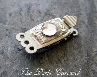 vintage rhinestone clasp, multi strand necklace clasp, three strand clasp, silver clasp, jewelry clasp, box clasp, necklace closure, hook