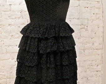 50s Black Cotton Eyelet Dress - Sexy, Fitted Style - Day or Night