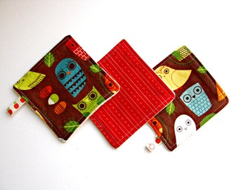 sale - pack of 3 reusable cloth wipes owls