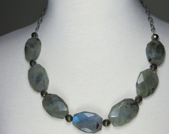Pyrite and labradorite flashy gemstone choker, antique silver chunky statement, fools gold necklace, gemstone necklace