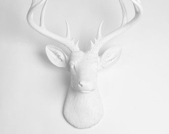 White Faux Taxidermy Deer Head - The XL Templeton - White Faux Deer Head- White Deer Antlers Mounted- Deer Wall Art  Resin Animal Heads