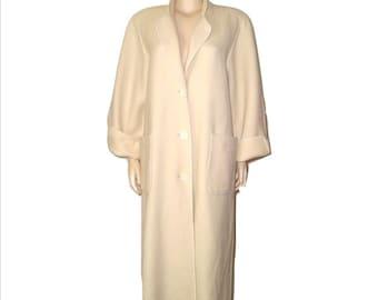 Vintage 70s WEINBERG Paris Winter WHITE Wool Long Manteau Maxi Coat M/L - New never worn Thick Homespun Wool