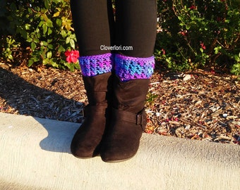 Crochet Boot Cuffs -Grape Soda, Purple, Blue- Boot Toppers, Leg Warmers, Leg Cuffs, Boot Sleeve, Ribbed, X-stitch