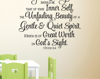 1 Peter 3:3-4 -Great worth in God's sight Teen Girl Scripture wall decal Bible Verse Wall Vinyl 1PET3V4-0001