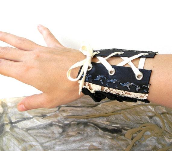 Wide Cuff Bracelet, Textile Jewelry, Fabric Cuff, Gothic Jewelry, Wrist Cuff, Crochet Cuff, Gothic Lolita Jewelry, Corsage Bracelet Arm Cuff