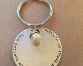 Love Between Mother & Daughter Knows No Distance Keychain with Pearl