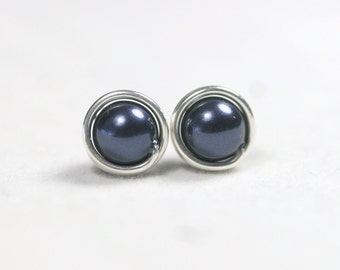 Navy Blue Pearl Earrings Wire Wrapped Jewelry Handmade Sterling Silver Jewelry Handmade Navy Blue Pearl Stud Earrings Dark Blue Earrings