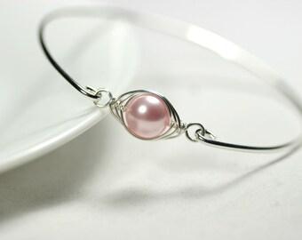 Pink Pearl Bangle Bracelet Wire Wrapped Jewelry Sterling Silver Bracelet Rose Gold Bracelet Bridal Pearl Bracelet Bridal Pearl Jewelry