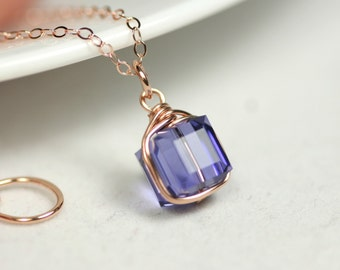 Rose Gold Tanzanite Necklace Wire Wrapped Jewelry Handmade Rose Gold Necklace Blue Swarovski Crystal Necklace Swarovski Crystal Jewelry