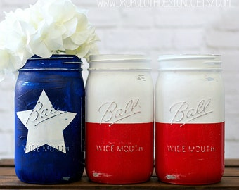 Texas Flag Mason Jar Set - Red, White, Blue Texas Flag Quart Size Mason Jars