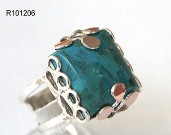 Ladies antique art deco 9k gold 925 sterling silver quality ring turquoise, silver and gold ring, silver turquoise ring, gold turquoise ring