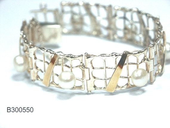 Handmade Freshwater Pearl Bride Bracelet 9k Gold 925 Sterling Silver Cuff, silver gold bracelet, gold pearl bracelet, silver pearl bracelet