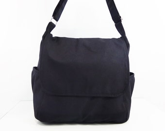 Women bag Cotton bag Canvas Bag Diaper bag Shoulder bag Hobo bag Tote bag Messenger bag Purse Handbags Everyday bag Black Laura
