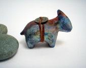 Spirit Beast . Raku Ceramic Sculpture . Rustic Gift . Zen-style Fetish . Animal Figurine . Fine Art Home Decor - SALE