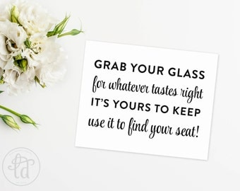 Grab a Glass Wedding Sign - Digital File - Print at Home - INSTANT DOWNLOAD