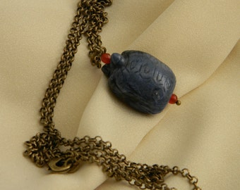 Carved turtle pendant w chain necklace , beaded jewelry , turtle pendant , turtle longevity talisman , sodalite gemstone & brass chain