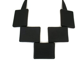 Large Necklace, Black Leather Bib Necklace, Statement Necklace, Bold Necklace,  Edgy Necklace, Gift for Her