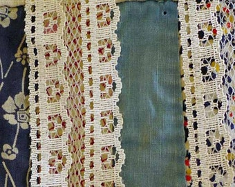 8 YARDS, 1980s Vintage, Cream, Scallop Lace Trim, 1-7/16 Inch Wide, Double Rows of Houses, Netting in Between, Polyester, L15