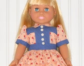 18 inch Girl Doll Blue and Peach Dress 1940 Vintage Inspired with White Slip American Doll Clothes