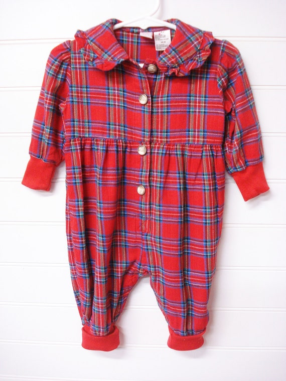 Vintage baby clothes baby girl flannel romper red black and blue