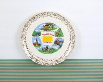 The Keystone State - Vintage Pennsylvania Keystone Souvenir Plate with Gold Decorative Border