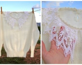 Tincel Lace and Cream Sweater. Beaded. Ivory. Lace Collar. Sweet. Vintage. Small Medium