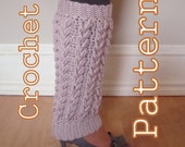 Laurel Wreath Cable Legwarmers and Boot Cuffs - PDF Crochet Pattern Instant Download