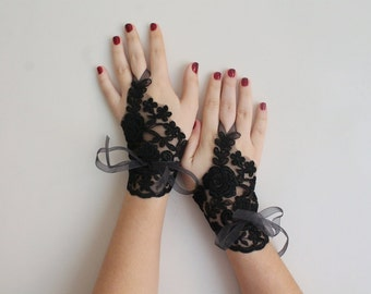Bridal black gloves or barefoot sandals, fingerles gloves, wedding bridal accessories, Ready to shipping.