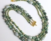 Jade, Olive Green, Avocado Green Freshwater Pearls, Beaded necklace, Triple Row Necklace, Green Color Gift, Ornate gold clasp