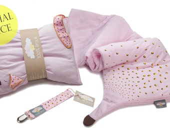 Baby girl blanket, pillow and pacifier clip, Organic cotton set