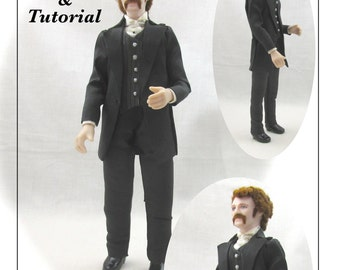 Dollhouse Doll JAMES VICTORIAN Man Doll Pattern and Tutorial PDF Miniature Dollhouse 1:12 Scale Instant Download