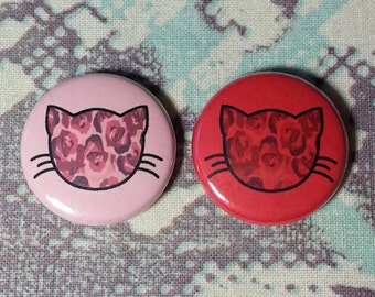 Floral Rose Kitty Cat Pinback Button or Magnet