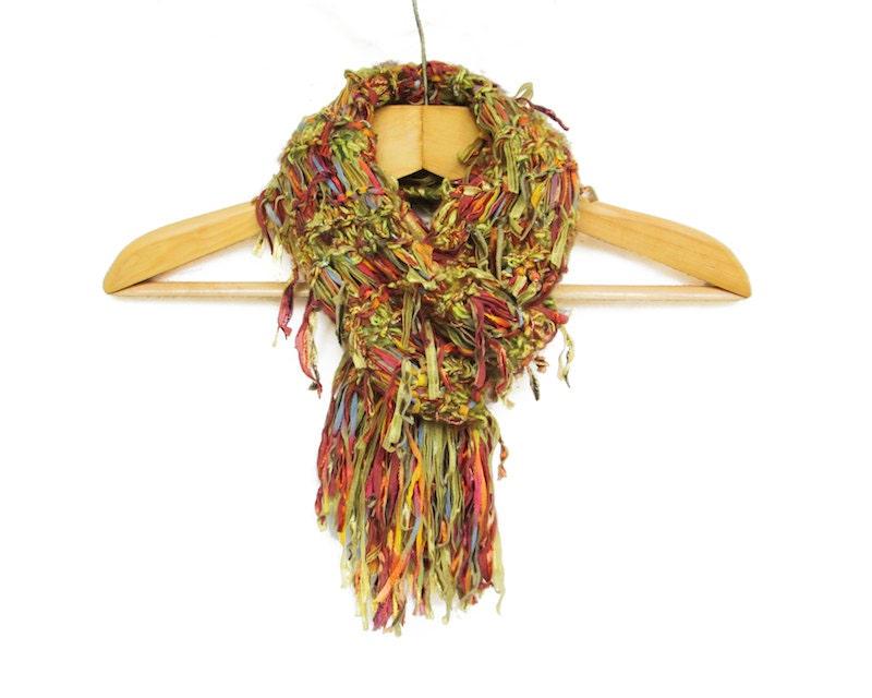 fringed bohemian scarf hippie style scarf handknit fringe