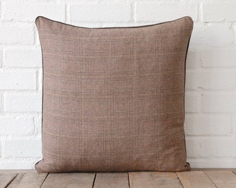 Brown Plaid and Chocolate Brown Suede-Like Back Pillow