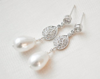 Pearl Bridal Earrings, Pearl Wedding Earrings, Pearl and Crystal Earrings, Wedding Jewellery