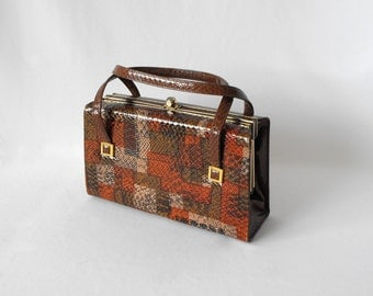 Vintage Purse Mar-Shel 1960s Shades of Brown and Orange, Snake Skin Design, Leather Handbag, Purse, Snap Closure, Gold Accents, Box Purse