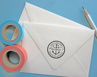 Custom Return Address Stamp - round stamp with anchor, nautical theme, black self inking stamp, rubber stamp wood handle