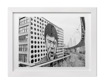 Street Art Print, Mural by JR on the Highline in New York City, Black and White NYC Landscape Photograph, Urban Graffiti