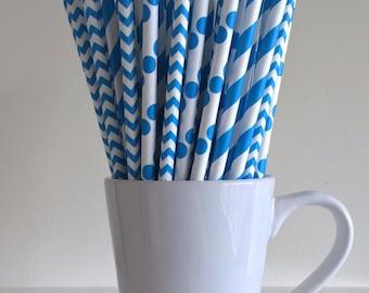 Blue Paper Straws Blue Striped, Chevron, Polka Dot Party Supplies Party Decor Bar Cart Cake Pop Sticks Mason Jar Straws Graduation