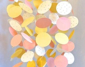 Peach, Coral, Yellow, Polka Dot Gold Nursery Mobile, Paper Nursery Mobile, Crib Mobile, Girly Mobile for Nursery, Geometric Mobile, Custom