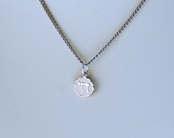 Vintage Chai Charm Necklace Silver Toned Judaic Jewelry Chanukah Gift Hanukkah Gift