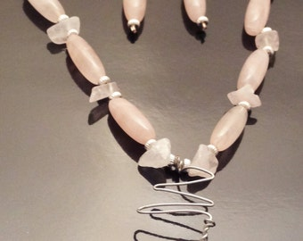 Rose Quartz & Silver Jewelry Set