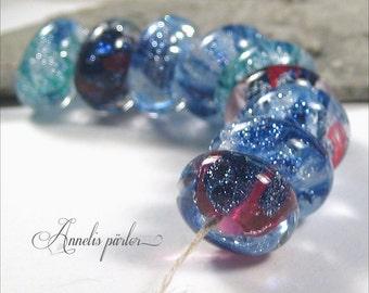 Handmade lampwork bead set, Sparkly blue goldstone beads, Artisan lampwork beads, SRA, Swedish glass crafts