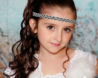 Black White Boho Headband - Adult Boho Headband - Bohemian Headband - Boho Headband - Forehead Headband - Hippie Headband - Womens Headbands