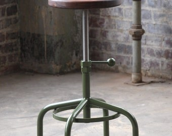 Industrial Stool Walnut Adjustable Drill Press Stool bar stools