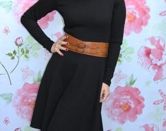 black short dress, little black dress, long sleeve black dress, turtleneck dress, high neck dress, circle dress, knee length dress