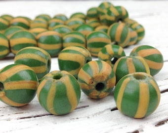 Boho Rustic Indonesian Round Glass Beads, Green and Yellow Recycled Glass Beads, Primitive, 10mm Round, 8 Beads, IN78